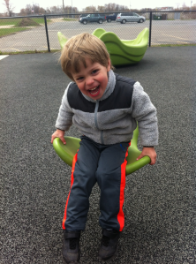 Max enjoying one of the all-abilities playgrounds. This one was in Northville at Cooke School. It was AWESOME! Pretty sure that school must house a full special needs program because this playground had it all, even FOUR wheelchair swings!
