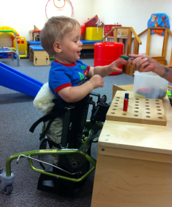 """Using the mobile stander without the """"big wheels""""."""